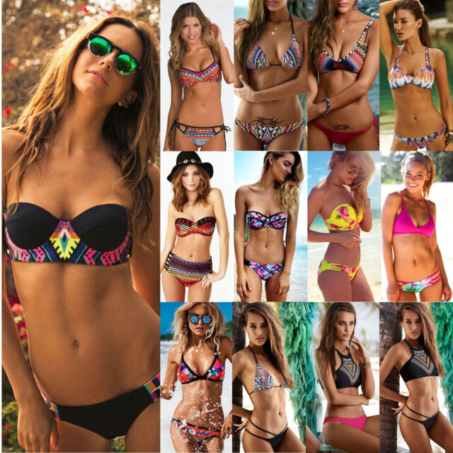 Boho Womens Bikini Set Floral Push Up Padded Bandage Swimwear Swimsuit Beachwear