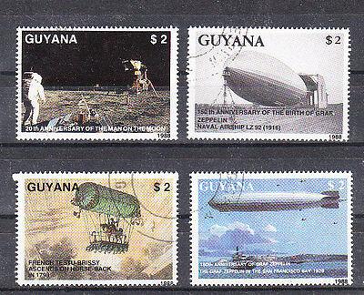 V1543 Guyana/ Zeppelin Minr 2485/88 O SchöNe Lustre Motive Briefmarken