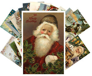 Postcards-Pack-24-cards-Vintage-Christmas-Santa-at-Work-St-Nicholas-CH4010