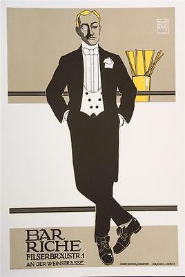 Bar Riche Vintage Fashion Poster Fine Art Lithograph Hans Rudi Erdt S2