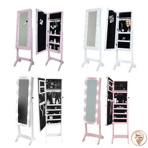 Details zu Hollywood Jewellery Mirror Cabinet with LED Lights For Kids  Girls Makeup Storage