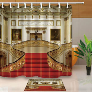 Image Is Loading Buckingham Palace With Red Stairs Fabric Shower Curtain