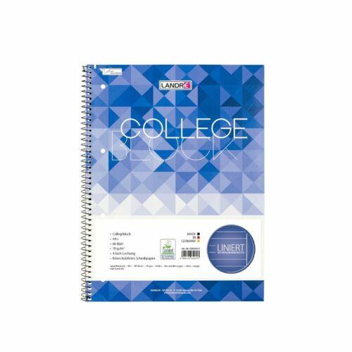 LANDRE 100050571 Collegeblock A4 80 Blatt liniert mit Rand 70 g//m² gelocht