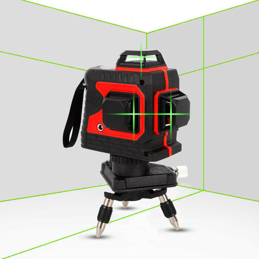 12 Lines 360 Degree 3D Green Beam Laser Level Build Measure Tool and Charger USA