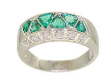 1.20ct Colombian Emerald And Diamond Ring in 14k White Gold