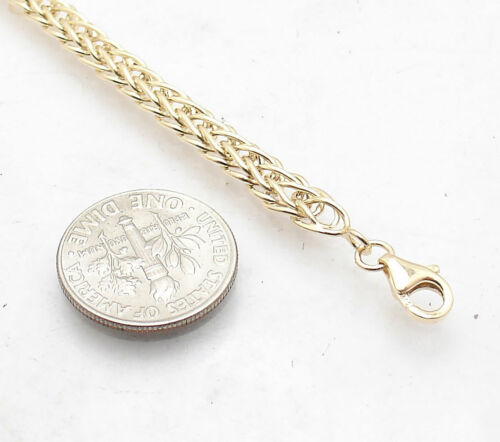 All Shiny Domed Wheat Spiga Bracelet with Lobster Clasp Real 14K Yellow Gold QVC