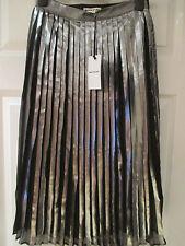 WHISTLES Metallic pleat skirt silver and black Size UK 6 EU 34 BNWT