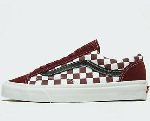 checkerboard vans maroon