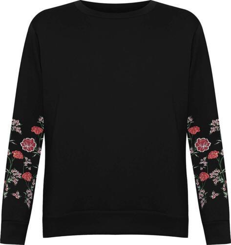Womens Plus Size Long Sleeve Floral Embroidered Sweatshirt Ladies Fleece  Top