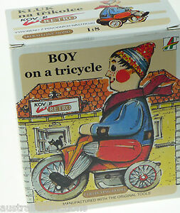 Kovap-Tinplate-Toys-Boy-on-a-Tricycle-Large-Windup-Collector-Quality-Model