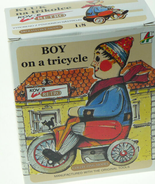 Kovap Tinplate Toys - Boy on a Tricycle - Large Windup Collector Quality  Mode