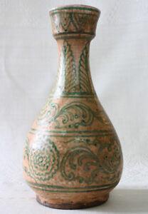 Thai Ceramics Thai Art Vessel Thai motif Hand Painted Celadon