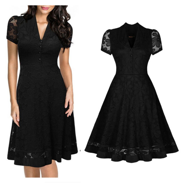 Vintage Style 50s Rockabilly Women Lace Floral Evening Party Prom Swing Dress