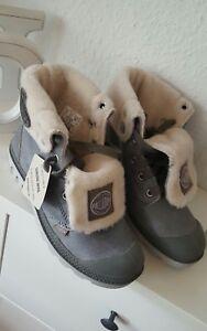 Palladium-Damen-Maedchen-Schuhe-Boots-Stiefel-Wolle-grau-Gr-36-NEU