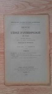 Recueil Mensual - Revista ESCUELA Antropología De París - 1901 - N º 9