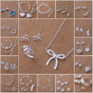 wholesale-Jewelry-Set-GiftsSilver-Bangle-Necklace-Bracelet-Earring-Ring-S925