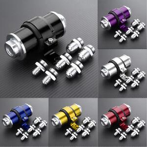 AN6-AN8-AN10-30-Micron-Billet-Inline-Fuel-Oil-Petrol-Filter-Aluminum-Bracket
