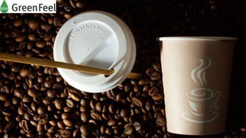 Jetable Papier Tasses à Café Double Paroi Naturelle Kraft Sip Lids boissons chaudes x 100