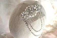 BRIANNA HAIR SLIDE COMB Vintage Gatsby Wedding Flapper Bride Rhinestone Hair