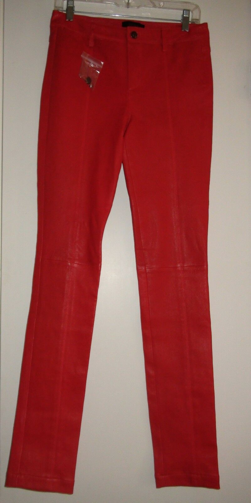 Diesel Red 100% Lamb Leather Pants Sz 27 NEW Woman's