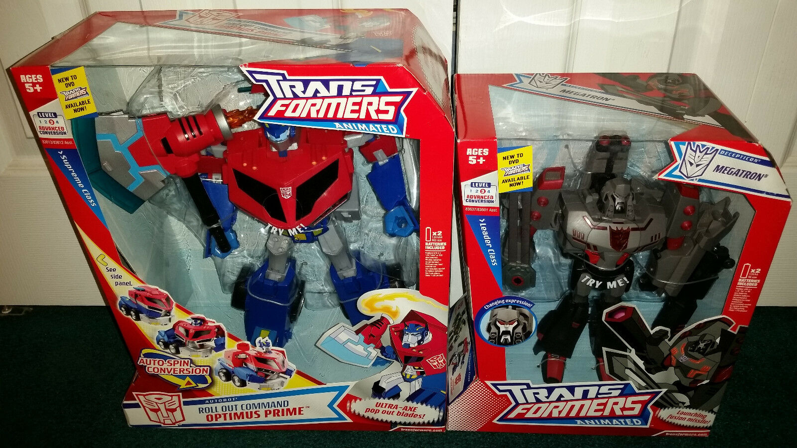 Optimus Prime Supreme + Megatron Leader Transformers Animated Hasbro 2007 MISP