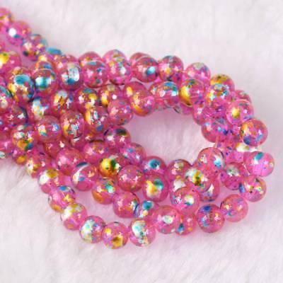 50pcs 6mm Round Crystal Glass Metallic Luster Patterns Loose Beads Deep Pink