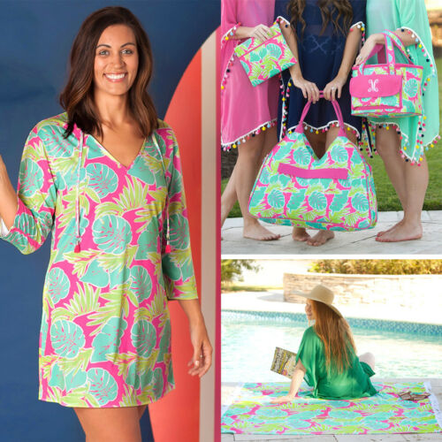 PERSONALIZED MONOGRAMMED TROPICAL BEACH BAG TOWEL INSULATED COOLER TOTE COVERUP