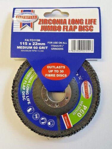 "Zircone Long Life Jumbo Flap Disc 60 Grit Moyen pour utiliser 115MM//4.5/"" Meules"