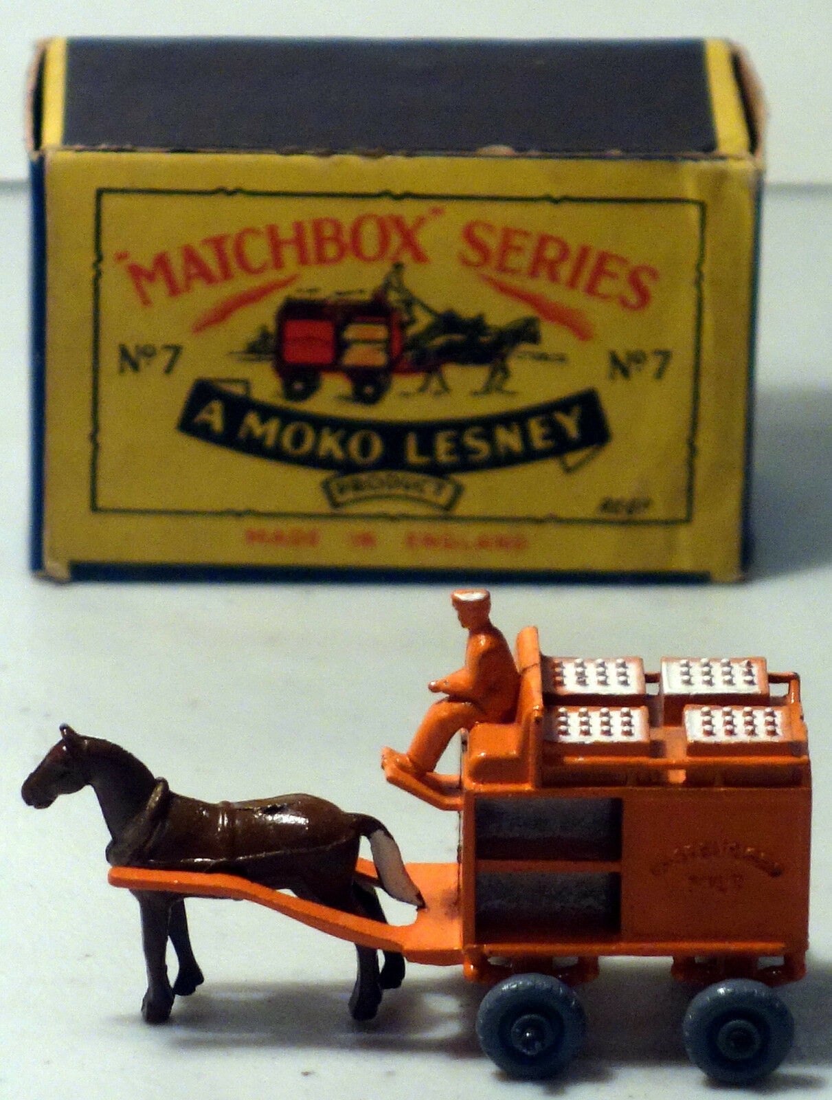 DTE MOKO LESNEY MATCHBOX MATCHBOX MATCHBOX REGULAR WHEELS 7-1 LT ORG HORSE DRAWN MILK FLOAT GPW b4ecd9