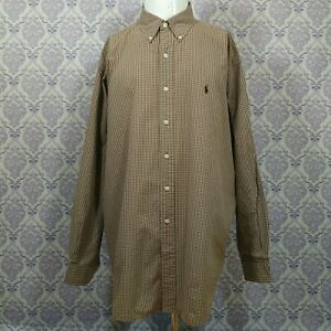 Ralph-Lauren-Blake-Mens-Button-Down-Shirt-SZ-XL-Brown-White-Gingham-Plaid-2-Ply