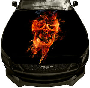 Skull flames FULL COLOR Car or Truck Window Decal Decals Sticker Skulls Graphic