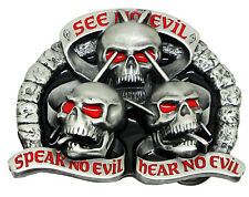 Skull Belt Buckle See Hear Speak No Evil Dark Gothic Authentic Dragon Designs