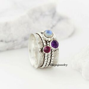 Rainbow-Moonstone-Solid-925-Sterling-Silver-Spinner-Ring-Meditation-Ring-Size