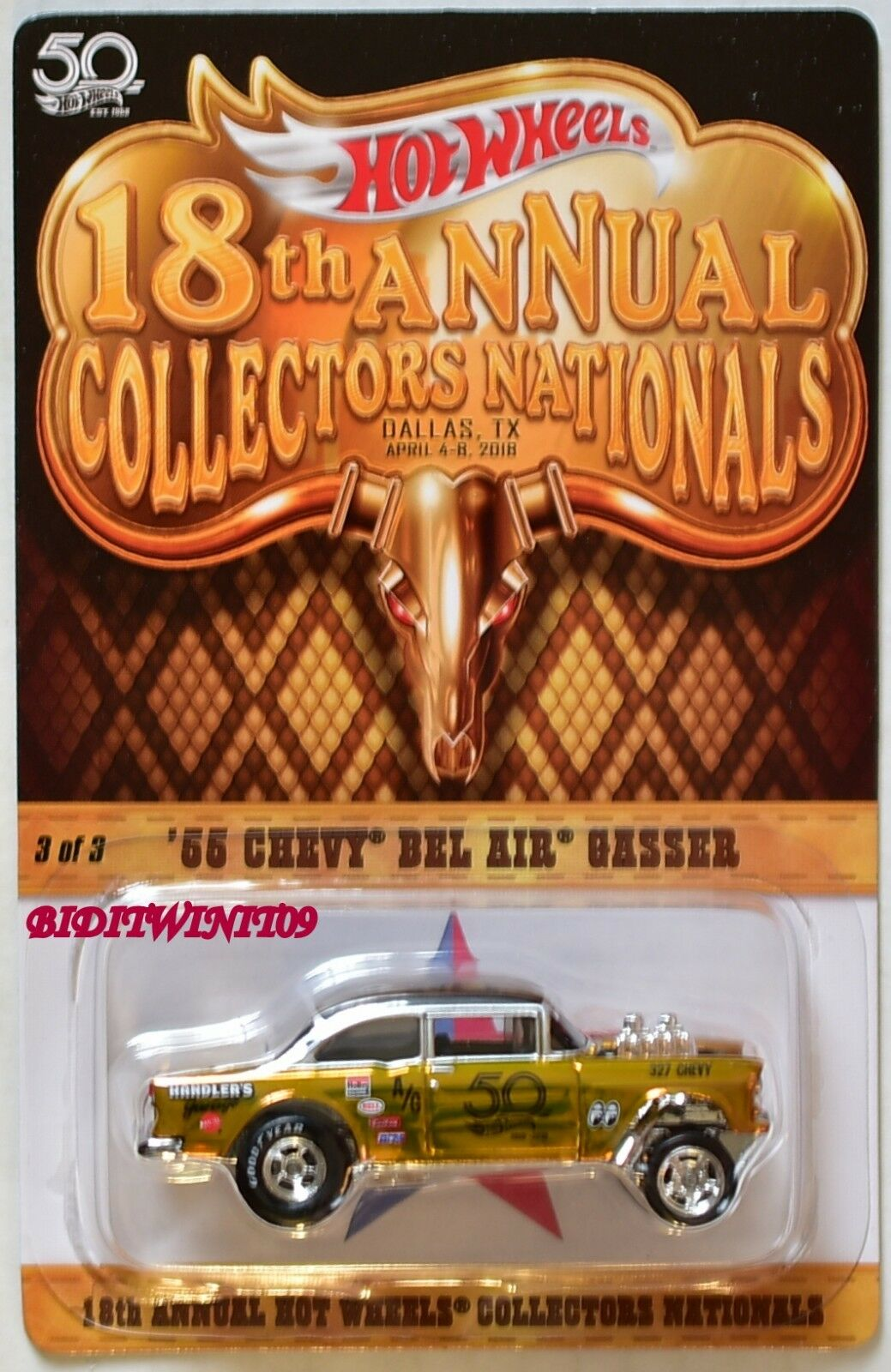 Hot Wheels 2018 18th Convention nationale'55 CHEVY BEL AIR GASSER  3040 3500