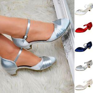 Le donne in raso Basso Tacco Corte Scarpe Cinturino alla Caviglia Festa Matrimonio Prom Lavoro Pompe Dimensione