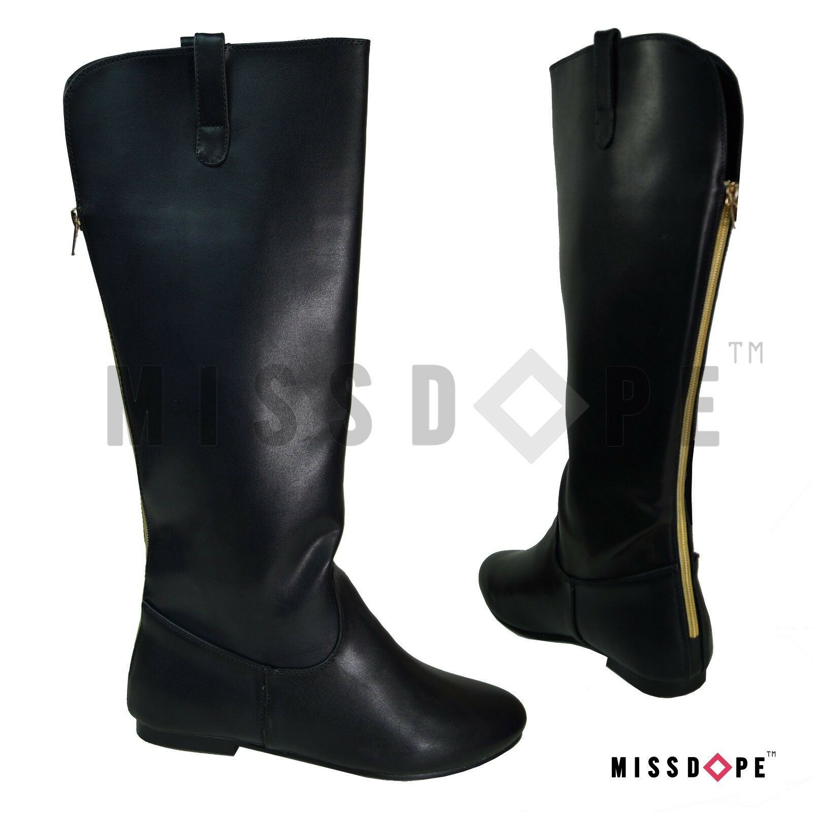 NEW BLACK KNEE THIGH HIGH BOOTS WOMENS BLOCK FAUX LEATHER LOW HEEL ZIP WINTER UK