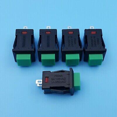 5Pcs Green PB04 Square 2Pin Self-Locking ON-OFF 1NO SPST Push Button Switch