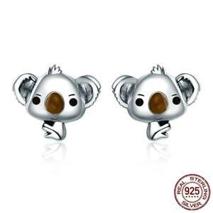 Women-Animal-Cute-Koala-Bear-Stud-Earrings-925-Sterling-Silver-Jewelry-Gift