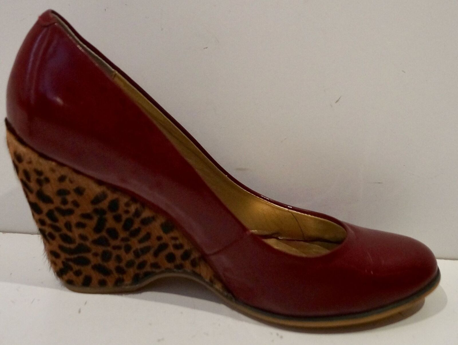 POETIC POETIC POETIC LICENCE Burgundy Red Leather Leopard Pony Hair Wedge Heel Court shoes 5 55ca87