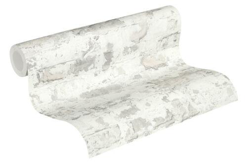 Bruchstein Mauer Vliestapete grau weiß Naturstein verwittert 36929-3