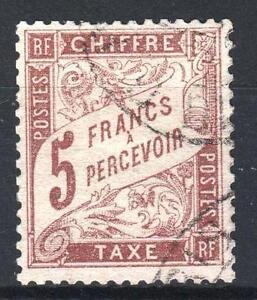 FRANCE-STAMP-TIMBRE-TAXE-N-27-034-TYPE-DUVAL-5F-MARRON-034-OBLITERE-TTB-M759