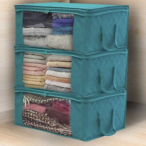 Foldable-Storage-Bag-Clothes-Blankets-Quilt-Closet-Sweater-Container-Box-Blanket
