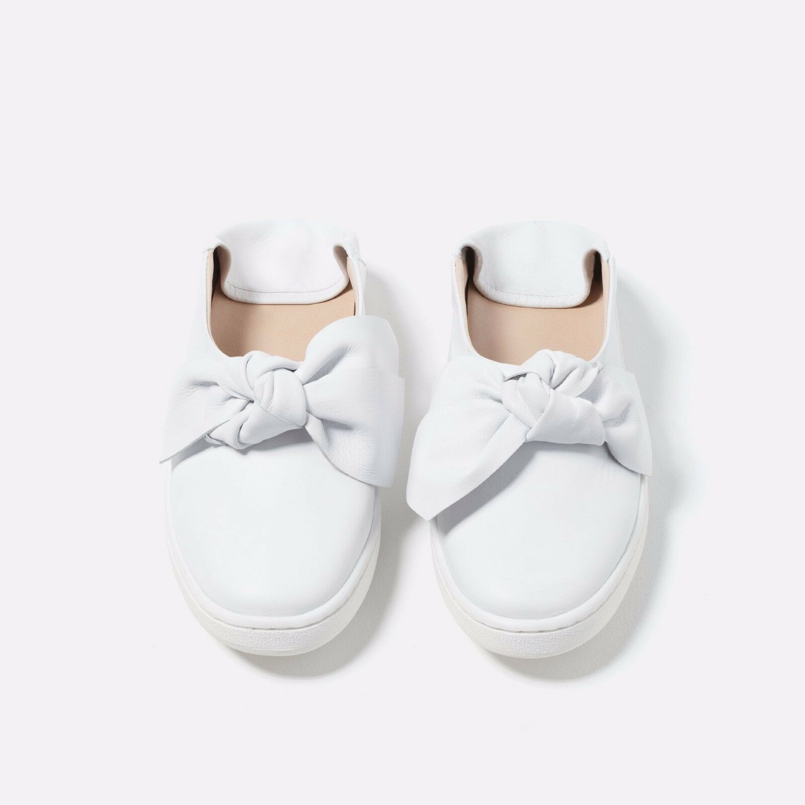 ZARA LEATHER MULE PLIMSOLLS WITH BOW WEISS 1751/101