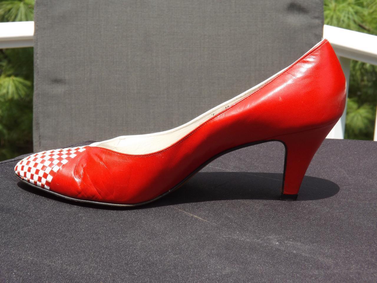 Bally of Switzerland ROT & WEISS Leder Lisa Pumps High Heels Ponte Shank 7 M