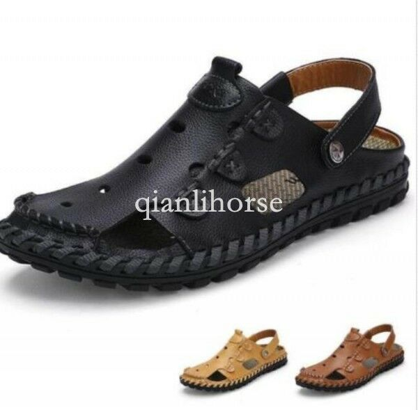 Fashion mens hollow out summer beach sandal shoes hand sewing backless slipprs Q