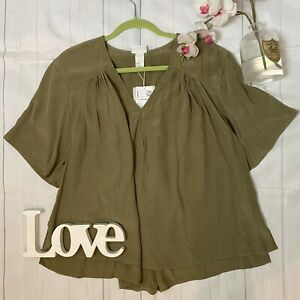 HM Anna Glover UK 14 green batwing loose fit smock top NEW satin floaty sleeves