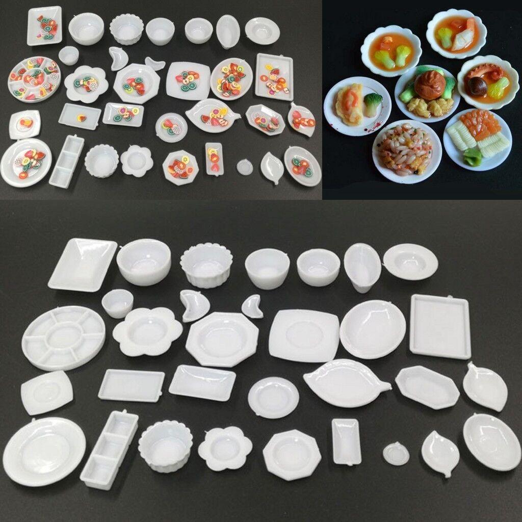 33 Pcs Dollhouse Miniature Tableware Plastic Plate Set Mini Dishes Set Food V0D5