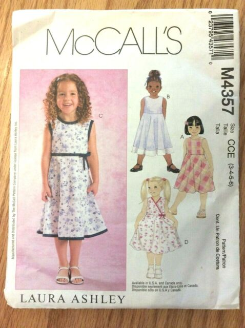 b07675141364 McCalls Laura Ashley Dress Pattern M4357/CCE Girls 3-4-5-6 Uncut Summer  Sundress