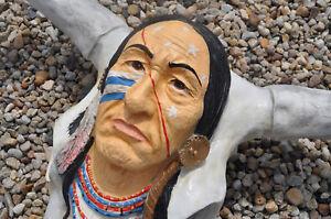 TEXAS-STIERSCHADEL-INDIANER-Dekofigur-Western-GARTENFIGUR-DEKO