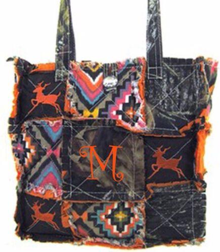 Western Mossy Oak Tree Aztec Patchwork Tote DEER Embroidery Rag Bag MONOGRAM ORG